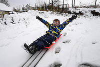 Weather Uk Snow Wales<br /> Sunday 20th November 2016<br /> Aneurin Lewis aged 8 plays in the snow in the village of Trefil in South Wales.