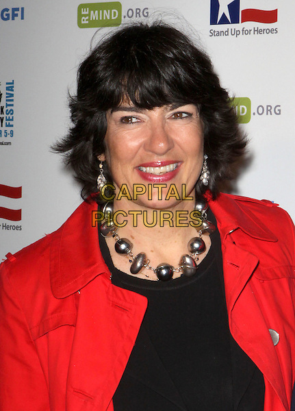 CHRISTIANE AMANPOUR.Stand Up For Heroes: A Benefit for the Bob Woodruff Foundation featuring an evening of comedy and music in honor of our Nation?s injured heroes and their families held at Town Hall, New York, NY, USA..November 5th, 2008.headshot portrait red black silver beads necklace earrings .CAP/ADM/PZ.©Paul Zimmerman/AdMedia/Capital Pictures.