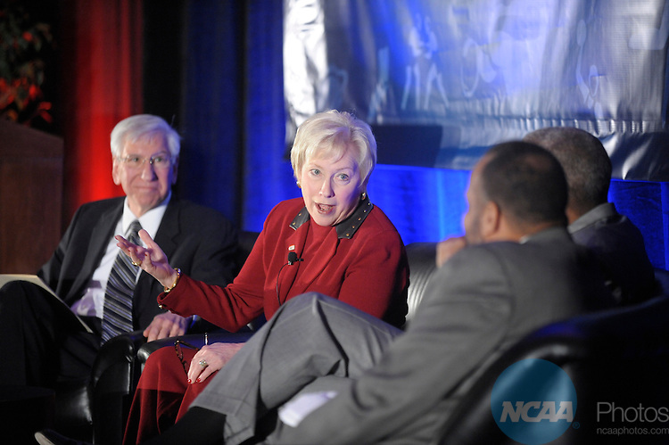 11 JAN 2008:  Staff and delegates participated in the Keynote Luncheon at the 2008 NCAA Convention held at the Gaylord Palms Opryland Resort and Convention Center in Nashville, TN. Stephen Nowland/NCAA Photos.Pictured: Myles Brand - NCAA, Nancy Zimpher - University of Cincinnati President, Gene Smith - Ohio State University Athletics Director, William C. Rhoden - New York Times columnist