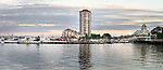 Panoramic view of Nanaimo city waterfront and harbour skyline on a summer evening during sunset. Vancouver Island, British Columbia, Canada 2017