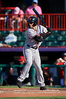 Richmond Flying Squirrels Gio Brusa (28) at bat during an Eastern League game against the Erie SeaWolves on August 28, 2019 at UPMC Park in Erie, Pennsylvania.  Richmond defeated Erie 6-4 in the first game of a doubleheader.  (Mike Janes/Four Seam Images)