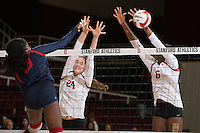 STANFORD, CA - October 14, 2016: Audriana Fitzmorris,Tami Alade at Maples Pavilion. The Arizona Wildcats defeated the Cardinal 3-1.