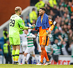 11.3.2018 Rangers v Celtic:<br /> Scott Bain and Wes Foderingham exchange greetings at full time