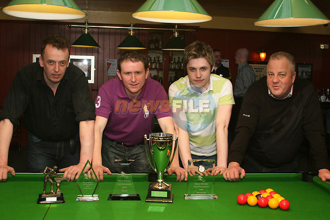 Semi Finalists, David McQuillan, Derek Smyth, David Gaynor and Jimmy Carter at the Simon Moroney Memorial Pool Tournament in O'Caseys...Photo NEWSFILE/Jenny Matthews.(Photo credit should read Jenny Matthews/NEWSFILE)....This Picture has been sent you under the condtions enclosed by:.Newsfile Ltd..The Studio,.Millmount Abbey,.Drogheda,.Co Meath..Ireland..Tel: +353(0)41-9871240.Fax: +353(0)41-9871260.GSM: +353(0)86-2500958.email: pictures@newsfile.ie.www.newsfile.ie.FTP: 193.120.102.198.