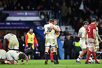 Chris Robshaw of England celebrates at the final whistle with team-mate Sam Underhill. Natwest 6 Nations match between England and Wales on February 10, 2018 at Twickenham Stadium in London, England. Photo by: Patrick Khachfe / Onside Images