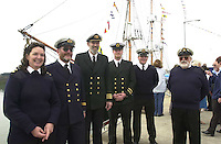 The crew of the Jeanie Johnston pictured at the naming ceremony in Fenit Co., Kerry included are from left, Sue Taylor, (cook), Michael O'Carroll, (engineer), Captain Mike Forwood, Ray Drum, (2nd mate), Rowan MacSweeney, (2nd mate) and John  Gill, (Sailing Master)..Picture by Don MacMonagle