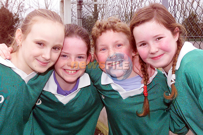 Roslin Owens, Michelle Foley, Rita Griffin and Vickey martin from St olivers school Navan who took part int he ribena 6 a side in the MDL in Navan..Picture Fran Caffrey Newsfile.