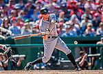 30 July 2017: Colorado Rockies infielder DJ LeMahieu in action against the Washington Nationals at Nationals Park in Washington, DC. The Rockies defeated the Nationals 10-6 in the second game of their 3-game weekend series. Mandatory Credit: Ed Wolfstein Photo *** RAW (NEF) Image File Available ***