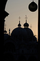 Sihouette of the domes of the Basilica di San Marco, St Marks square Venice, Italy.