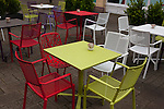 06/05/2015 Cafe tables and chairs in Westway shopping area of Frome, Somerset, UK.