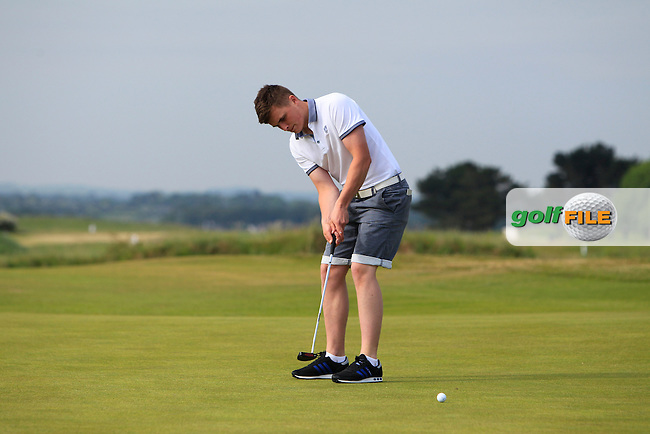 James Sugrue (Mallow) on the 1st green during Round 1 of the East of Ireland Amateur Open Championship sponsored by City North Hotel at Co. Louth Golf club in Baltray on Saturday 4th June 2016.<br /> Photo by: Golffile | Thos Caffrey