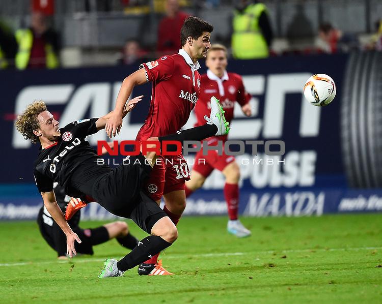 2. Liga  2015/2016, 10. Spieltag Hinrunde, 1. FC Kaiserslautern vs. Fortuna D&uuml;sseldorf<br /> Julian Schauerte (D&uuml;sseldorf),  Antonio Colak (Kaiserslautern)<br /> <br /> <br /> Foto &copy; nordphoto /  Bratic