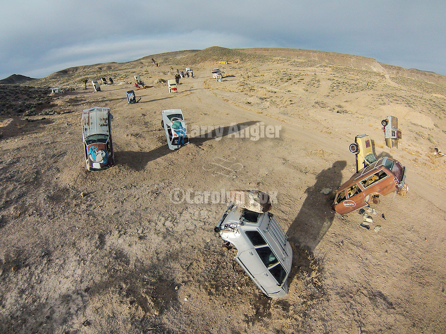 National Junk Car Forest (World's Largest), Goldfield, Nev. from the air<br /> <br /> (International Car Forest of The Last Church)<br /> <br /> Eccentric art created by Chad Sorg