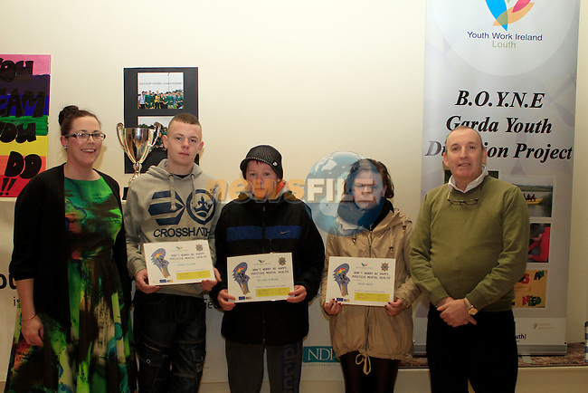 Darren Mulhern, Dillion O'Brien and Megan Owens receive their awards at the Boyne Garda Youth Project Awards in the Holy Family Community Centre...Photo NEWSFILE/Jenny Matthews..(Photo credit should read Jenny Matthews/NEWSFILE)