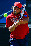 SURPRISE, AZ - MAY 12: Zach Whaanga of the Columbus State Cougars returns a ball against the Barry Buccaneers during the Division II Men's Tennis Championship held at the Surprise Tennis & Racquet Club on May 12, 2018 in Surprise, Arizona. (Photo by Jack Dempsey/NCAA Photos via Getty Images)