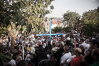 Crowd of faithful at the Blue Cross shrine moments before the apparition to the visionary Mirjana <br /> Bijakovici, Medjugorje, Bosnia and Herzegovina. 02 July 2012