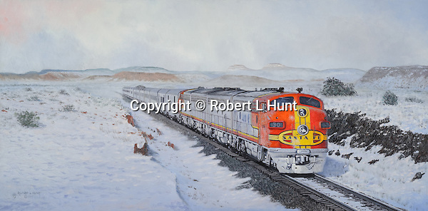 "Santa Fe passenger train pulled by F7 units in warbonnet paint heading west across the snowy high desert in New Mexico. Oil on canvas, 17"" x 23""."