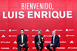 National soccer team of Spain new coach Luis Enrique Martinez (c) with the president of the RFEF Luis Rubiales (r) and the Sports Director Jose Francisco Molina during his official presentation. July 19,2018. (ALTERPHOTOS/Acero)