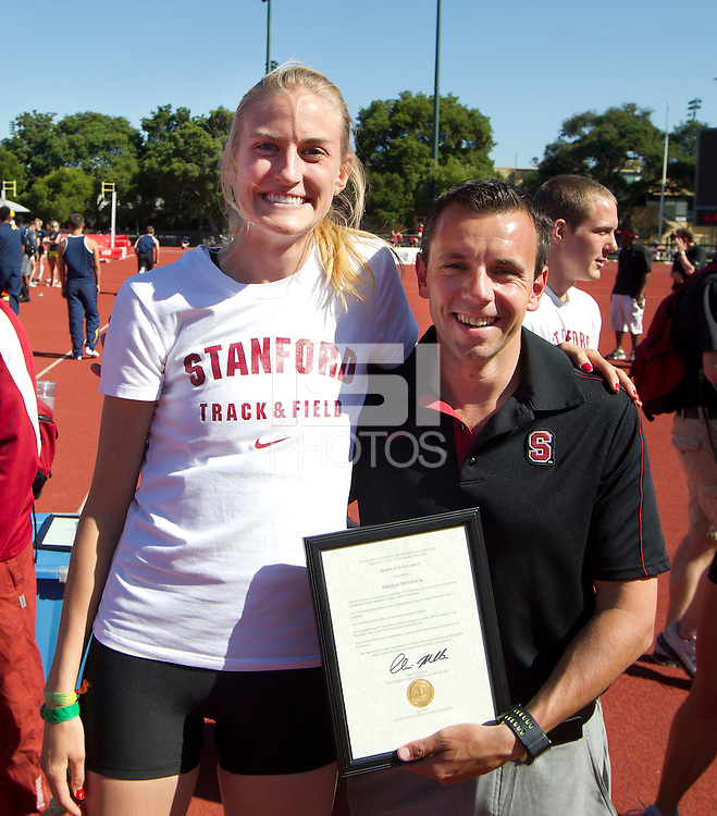 Stanford, CA., April 20, 2013,--Stanford's honors Jordan Merback at the 119 Big Meet at Cobb Track and Angell Field at Stanford University.
