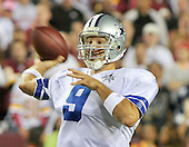Dallas Cowboys quarterback Tony Romo (9) prepares to pass in fourth quarter action against the Washington Redskins at FedEx Field in Landover, Maryland on Sunday, September 12, 2010. The Redskins won the game 13 - 7..Credit: Ron Sachs / CNP