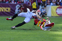 Landover, MD - November 4, 2018: Atlanta Falcons wide receiver Julio Jones (11) is tackled during the  game between Atlanta Falcons and Washington Redskins at FedEx Field in Landover, MD.   (Photo by Elliott Brown/Media Images International)
