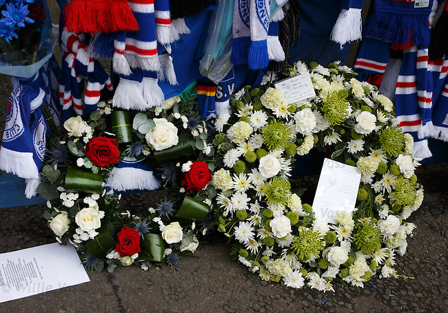 Floral tributes from Rangers and Celtic in memory of Sandy Jardine