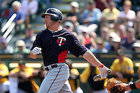 Minnesota Twins outfielder Steven Pearce #39 at bat during a spring training game against the Pittsburgh Pirates at McKechnie Field on March 10, 2012 in Bradenton, Florida.  Minnesota defeated Pittsburgh 4-2.  (Mike Janes/Four Seam Images)