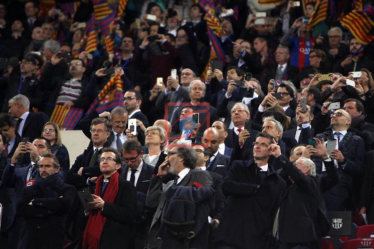 UEFA Champions League 2016/2017.<br /> Round of 16 2nd leg<br /> FC Barcelona vs Paris Saint-Germain: 6-1.<br /> Manel Valls, en el centro de la imagen.