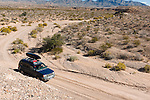 Driving along a dry riverbed or wash to get to Little Finland on public land in southern Nevada, just east of Lake Mead.