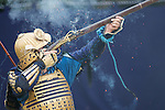 November 3, 2011, Tokyo, Japan - A musketeer fires his match lock musket at a Martial Arts demonstration held at Meiji shrine to celebrate Japan's National Culture Day. (Photo by Bruce Meyer-Kenny/AFLO) [3692]