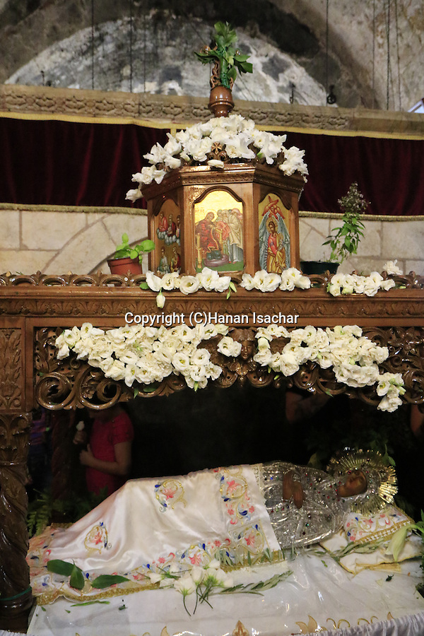 Israel, Jerusalem, the icon of Virgin Mary at Mary's Tomb on the Feast of the Assumption