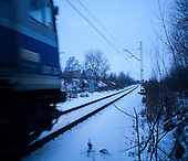 PIASECZNO, FEBRUARY 2012:.Train to Warsaw. About 500 thousand people commute everyday from other towns and villages to work in the Polish capital..(Photo by Piotr Malecki / Napo Images)..Piaseczno, Luty 2012:.Pociag do Warszawy. Okolo 500 tysiecy osob dojezdza codziennie z innych miast do pracy w Warszawie.  .Fot: Piotr Malecki / Napo Images.