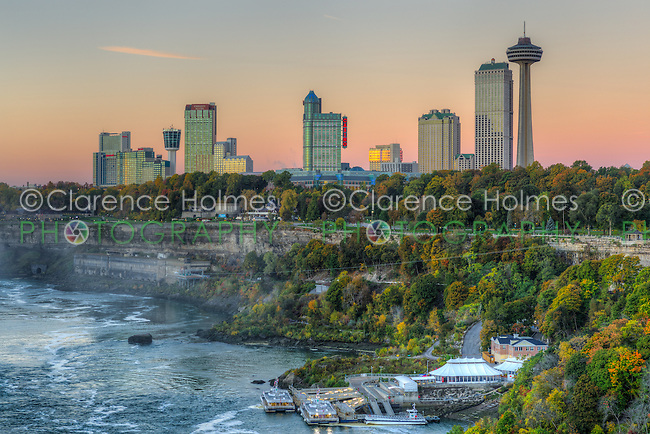 A view of the Niagara River and skyline of Niagara Falls, Ontario just before sunrise.