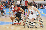 November 18 2011 - Guadalajara, Mexico:   Cindy Ouellet of Team Canada taking on Team USA in the Gold Medal Game in the CODE Alcalde Sports Complex at the 2011 Parapan American Games in Guadalajara, Mexico.  Photos: Matthew Murnaghan/Canadian Paralympic Committee