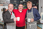 © Joel Goodman - 07973 332324 . . 07/02/2014 .  Manchester , UK . David Neilson (r), who plays Roy Cropper in Coronation Street , serves behind the counter with Labour candidate Mike Kane (l) on the campaign trail at Jackie's Cafe in Northern Moor , joined by Rob Holuj (c) who owns the cafe , ahead of the Wythenshawe and Sale East by-election . Photo credit : Joel Goodman