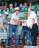 Bill Waldron & Rich Glazier with Hector Castellanos in the foreground & Pete Lizarzaburu in the badkground winning at Delaware Park on 7/17/17