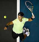 BANGKOK, THAILAND - SEPTEMBER 30:  Rafael Nadal of Spain serves against Ruben Bemelmans of Belgium during the Day 6 of the PTT Thailand Open at Impact Arena on September 30, 2010 in Bangkok, Thailand. Photo by Victor Fraile / The Power of Sport Images