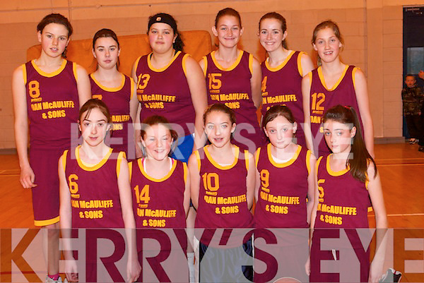 BASKETBALL: St Joseph's Abbeyfeale/Duagh Basketball team who took on Tralee in the under 14 Cup final at Mercy Mounthawk Gym, Tralee on Sunday. Front l-r: Sarah Sheehy, Eibhlin Dillon, Eabhnail Scanlon, Sinead Guiney and Laura Guerin. Back l-r: Amy O'Connor, Sinead Greaney, Nadine Smith, Rachel Collins, Meabh Roche and Sorcha McNulty..