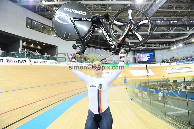 Picture by SWpix.com - 16/04/2017 - Cycling - 2017 UCI Track Cycling World Championships, Day 5 - Hong Kong Velodrome, Tseung Kwan O, Hong Kong - Woman's Keirin Final - VOGEL Kristina of Germany wins.
