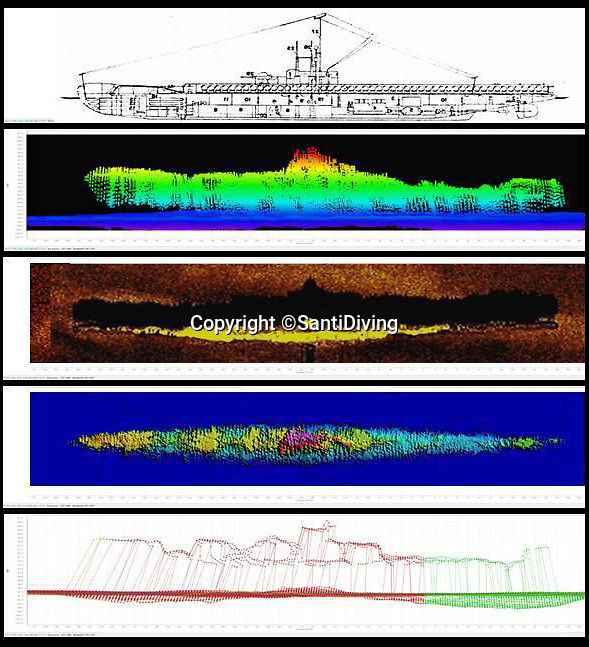 BNPS.co.uk (01202 558833)Pic: SantiDiving/BNPS<br /> <br /> 3D Radar scan of the stricken sub-matches the dimensions of the Narwhal.<br /> <br /> First sight in 77 years - The icy tomb of 58 British submariners lost in WW2 has finally been rediscovered by accident in the North sea.<br /> <br /> HMS Narwhal departed it's base in Blyth, Northumberland on July 22nd, 1940 tasked with the job of laying mines off German-occupied Norway before being intercepted on-route, killing everyone on board.<br /> <br /> Now 77 years later, the wreck appears to have been discovered by a team of Polish deep-sea explorers, who were carrying out a search for one of their nation's lost submarines, the ORP Eagle.<br /> <br /> The largely intact vessel is lying 140 miles off the coast of Scotland in waters nearly 100 metres deep.