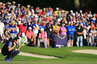 Rory McIlroy (NIR)(Team Europe) on the 16th green during the Friday afternoon fourball at the Ryder Cup, Hazeltine national Golf Club, Chaska, Minnesota, USA.  30/09/2016<br /> Picture: Golffile | Fran Caffrey<br /> <br /> <br /> All photo usage must carry mandatory copyright credit (&copy; Golffile | Fran Caffrey)
