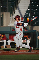 Duke Kinamon (12) of the Stanford Cardinal bats against the Southern California Trojans at Dedeaux Field on April 6, 2017 in Los Angeles, California. Southern California defeated Stanford, 7-5. (Larry Goren/Four Seam Images)