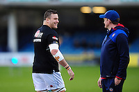 Mitch Lees of Exeter Chiefs speaks with Stuart Hooper of Bath Rugby during the pre-match warm-up. Aviva Premiership match, between Bath Rugby and Exeter Chiefs on December 31, 2016 at the Recreation Ground in Bath, England. Photo by: Patrick Khachfe / Onside Images