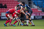 24th March 2018, AJ Bell Stadium, Salford, England; Aviva Premiership rugby, Sale Sharks versus Worcester Warriors; Jono Ross and Josh Beaumont of Sale Sharks make a tackle