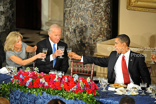 Washington, DC - January 20, 2009 -- Jill Biden and United States Vice President Joseph Biden exchange toasts with United States President Barack Obama during the luncheon at Statuary Hall in the U.S. Capitol in Washington DC following Barack Obama's swearing in as the 44th President of the United States on January 20, 2009..Credit: Amanda Rivkin - Pool via CNP