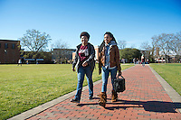 Students walking on Drill Field sidewalk.<br />  (photo by Megan Bean / &copy; Mississippi State University)