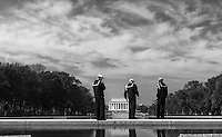 A chance capture of these three young sailors at the Reflecting Pool at the Lincoln Memorial in Washington, D.C.<br /> <br /> Press L & F11 for best Lightbox view