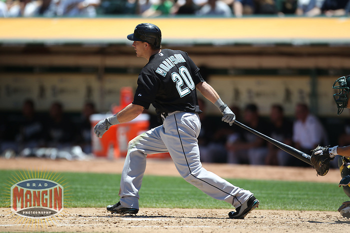 OAKLAND, CA - JUNE 30:  Logan Morrison #20 of the Florida Marlins bats against the Oakland Athletics during the game at the Oakland-Alameda County Coliseum on June 30, 2011 in Oakland, California. Photo by Brad Mangin
