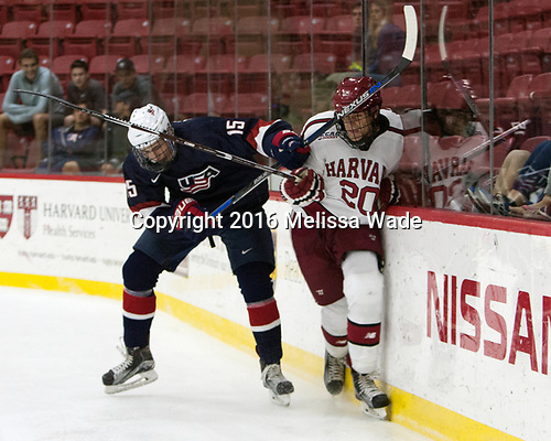 Joey Cassetti (NTDP - 15), Adam Baughman (Harvard - 20) - The Harvard University Crimson defeated the US National Team Development Program's Under-18 team 5-2 on Saturday, October 8, 2016, at the Bright-Landry Hockey Center in Boston, Massachusetts.