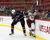 Joey Cassetti (NTDP - 15), Adam Baughman (Harvard - 20) - The Harvard University Crimson defeated the US National Team Development Program's Under-18 team 5-2 on Saturday, October 8, 2016, at the Bright-Landry Hockey Center in Boston, Massachusetts.
